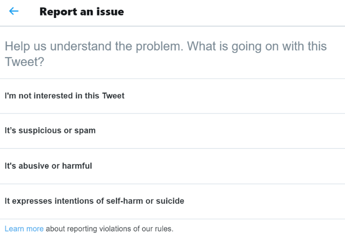 twitter reporting function