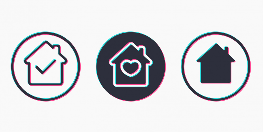 social media home icons in tiktok style