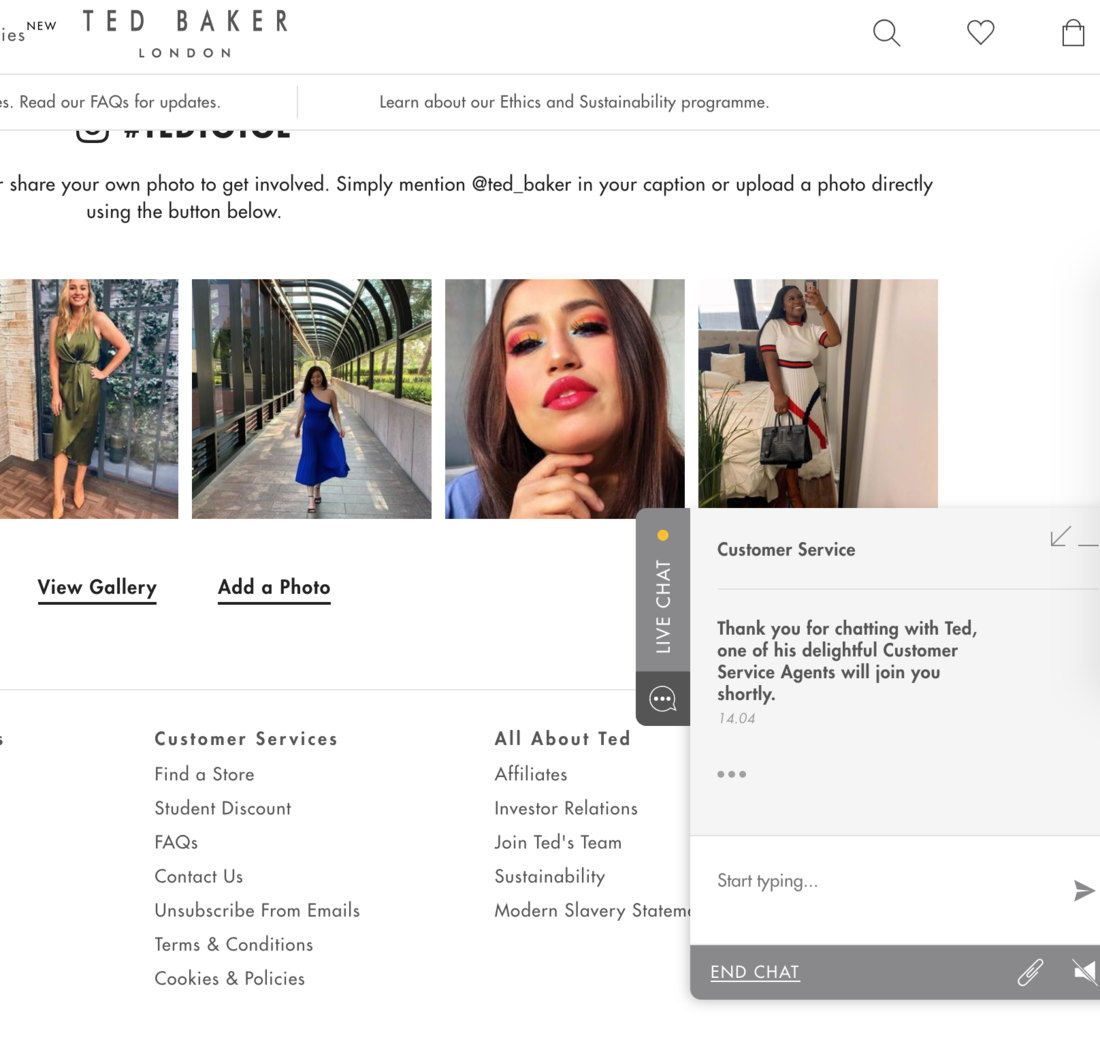 ted baker live chat
