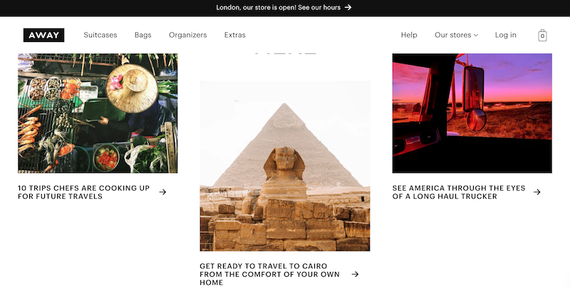 Away homepage featuring editorial content
