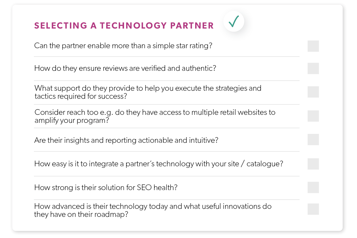 checklist for selecting a ratings and review provider