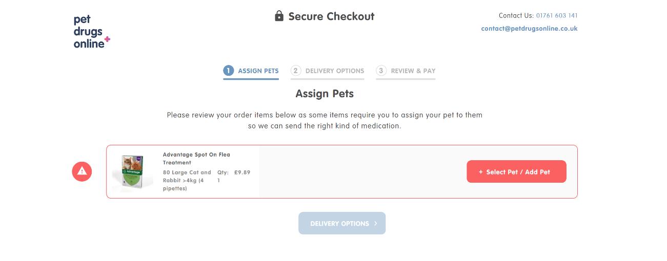 Pet Drugs Online checkout process