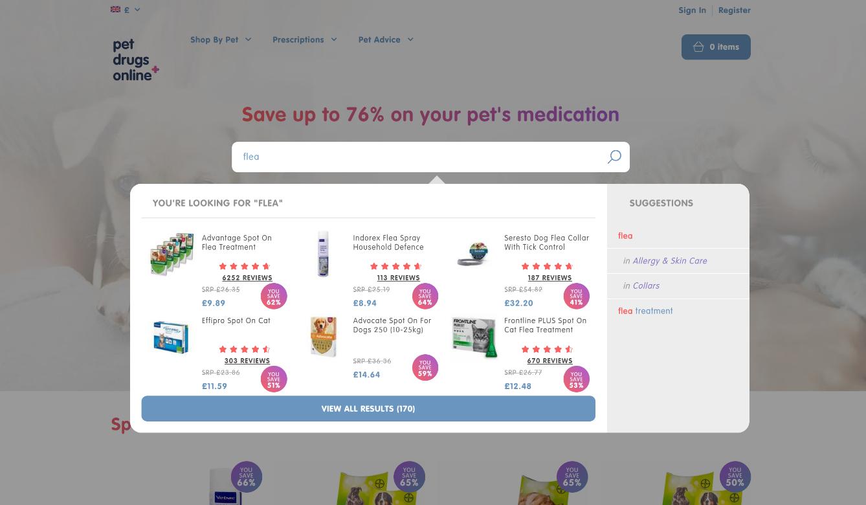 Pet Drugs Online dynamic search bar