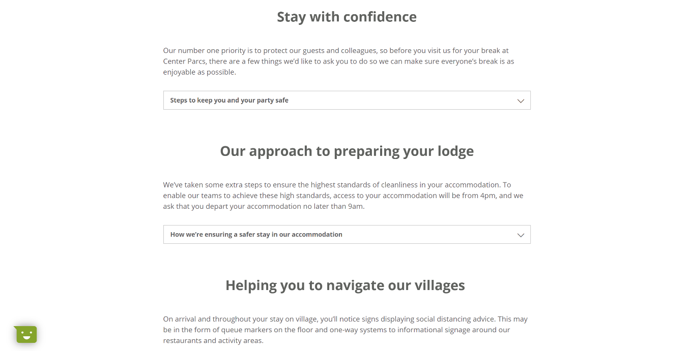 Center Parcs book with confidence page
