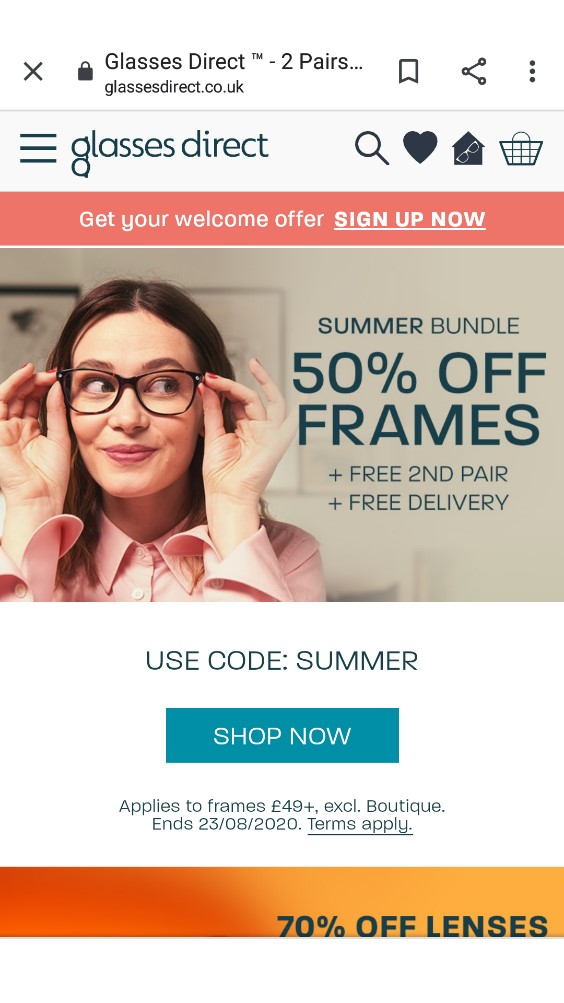 Glasses Direct mobile homepage