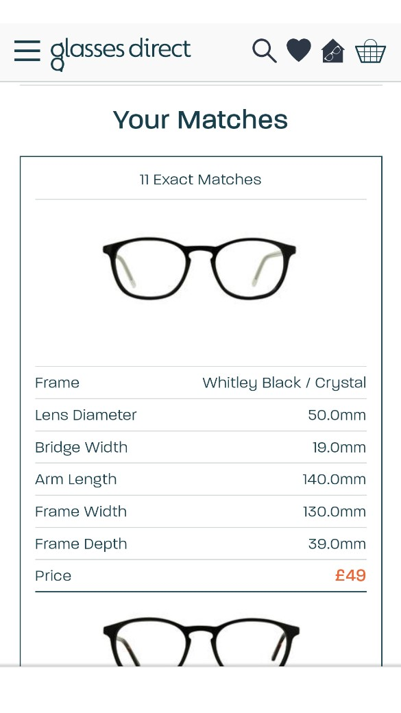 Glasses Direct 'Best Fit Machine' matches
