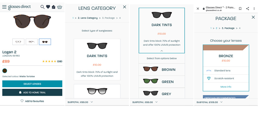 Glasses Direct lens personalisation