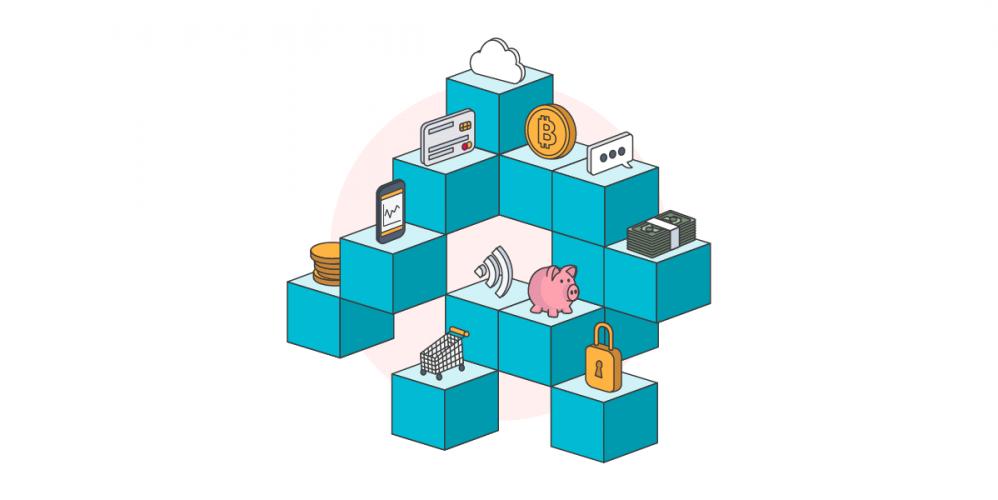 fintech concept illustration including piggy bank bitcoin shopping trolley