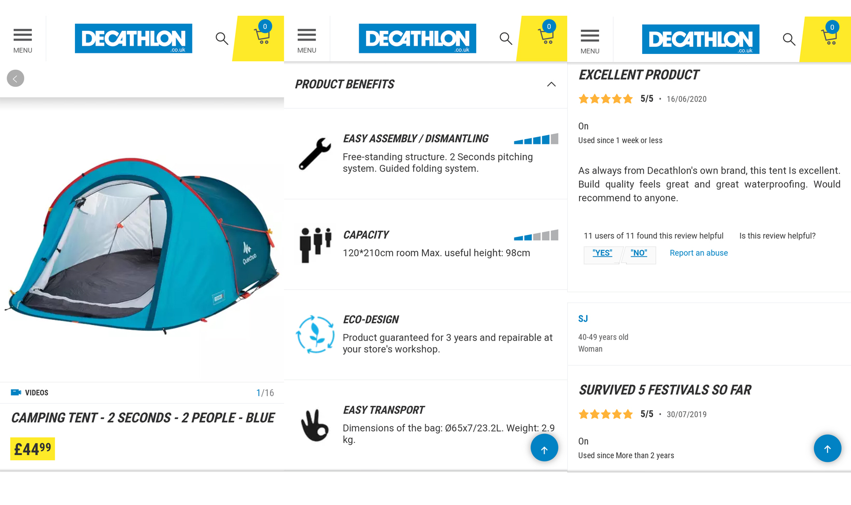 decathlon product page