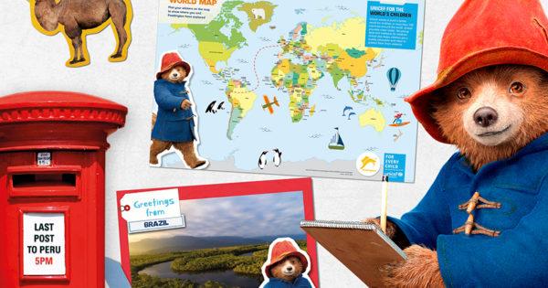 paddington-postcard paddington bear and world map