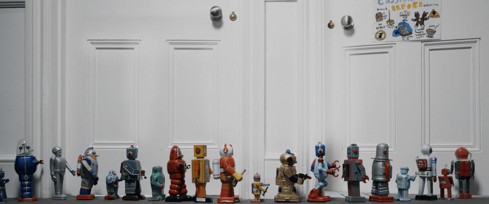 Queue of vintage robots
