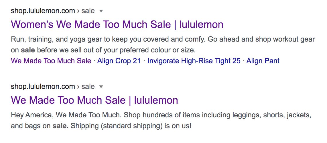 google search for lululemon sale