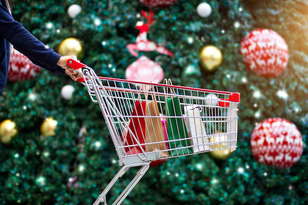 xmas tree and trolley. via shutterstock