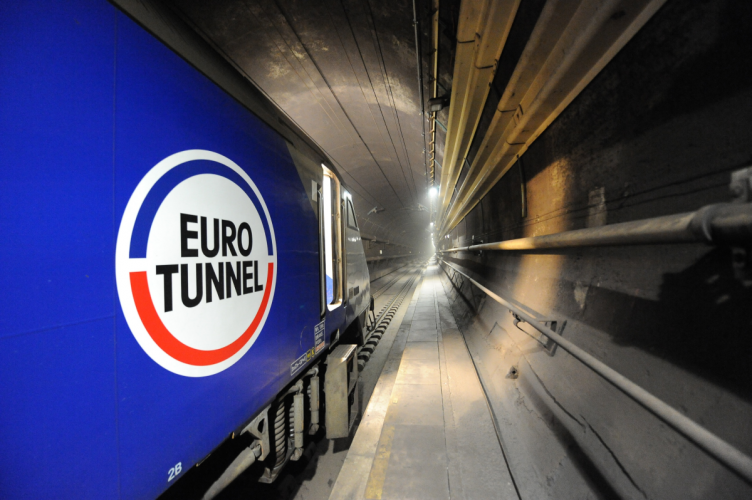 Inside the Eurotunnel view along train