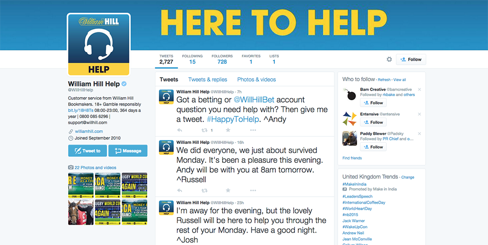 William Hill Here to help