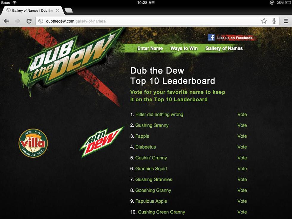 Mountain Dew, Dub the Dew