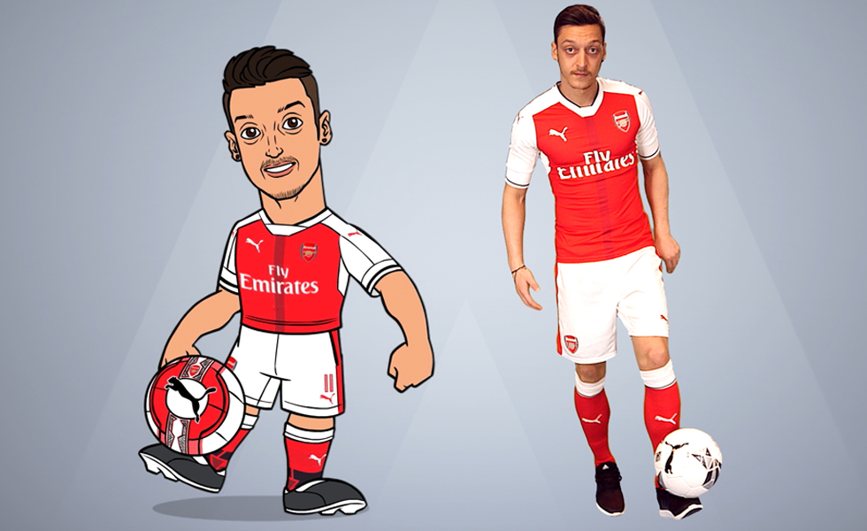 Arsenal player Mesut Özil with his avatar from the new Junior Gunners app