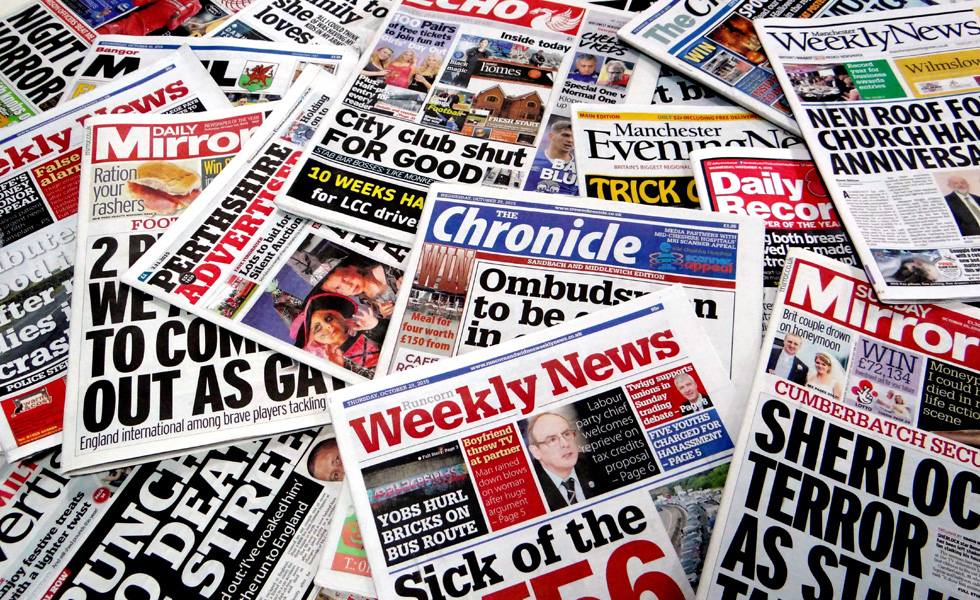 A selection of Trinity Mirror's titles.