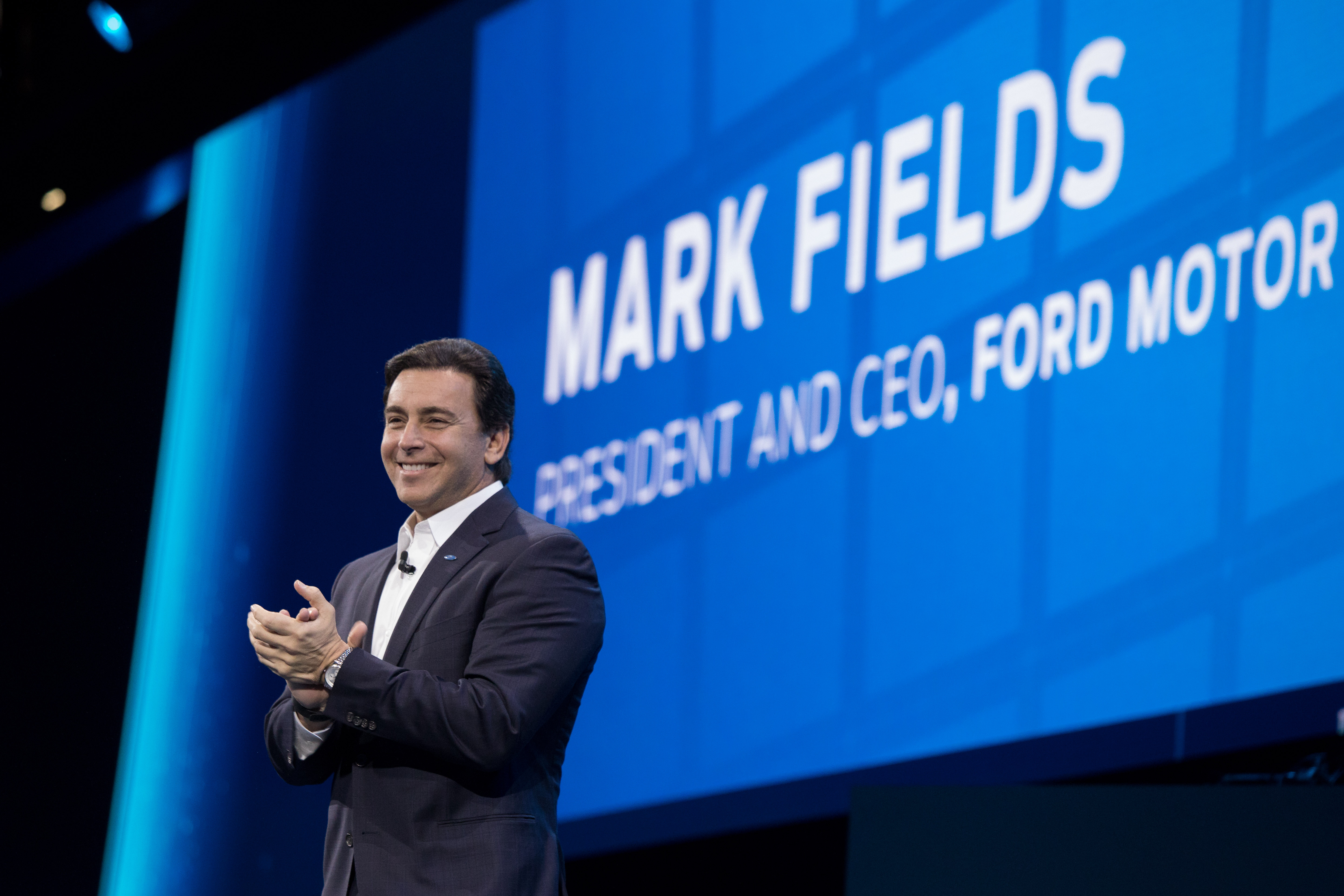 Mark Fields President and Chief Executive Officer, Ford Motor Company delivers his speech during the Ford Go Further Event Ford of Europe Go Further 2016. 29 November 2016 Photo: Neil Turner/Timbismedia for Ford of Europe