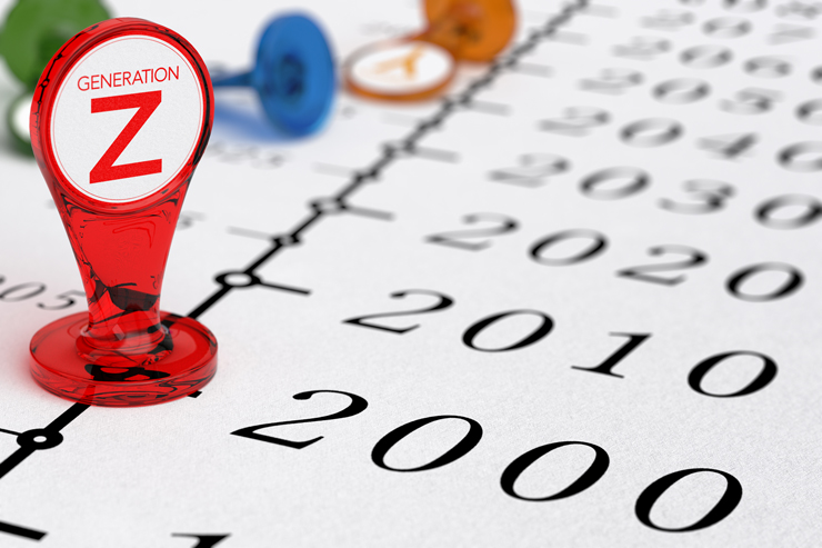 Timeline with red sign where it is written the text generation Z, illustration of millenial generations born after the year 2000.