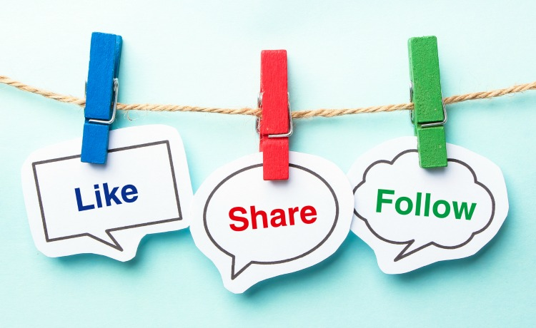 Like share follow bubble with clip hanging on the line with blue background.