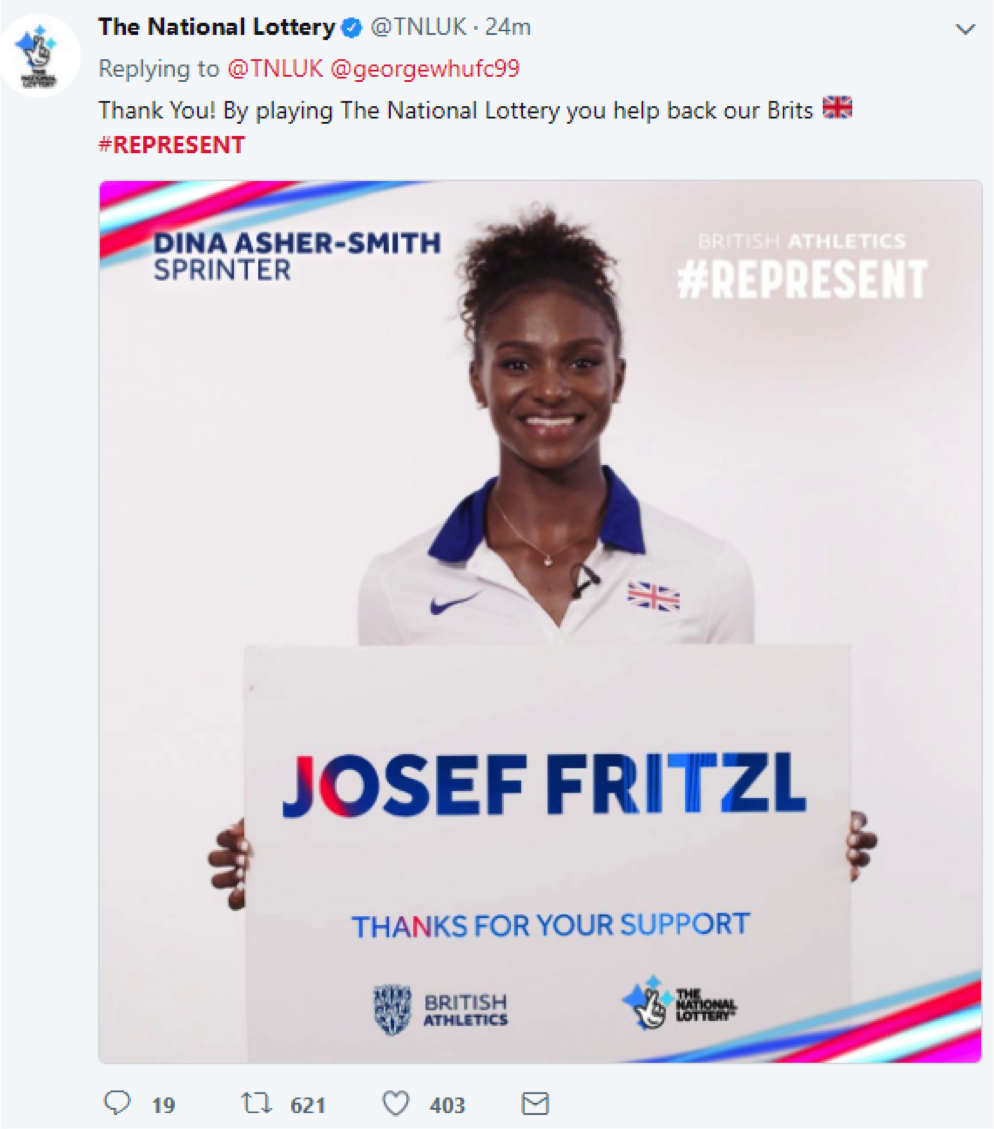 National Lottery Twitter campaign