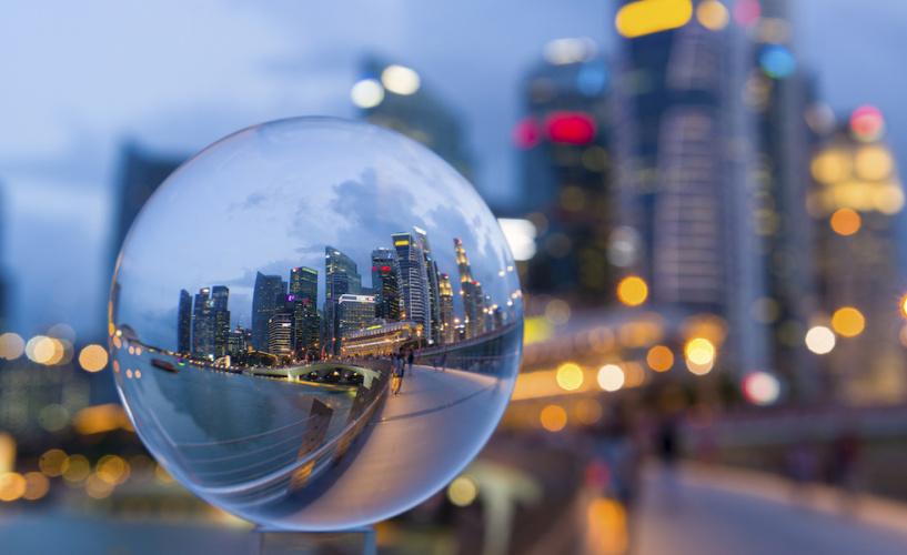 Crystal Ball with Reflection of Singapore CBD Skyline
