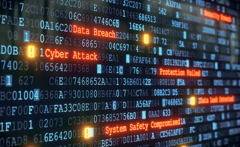 Numbers and words across a computer screen with danger words highlighted such as cyber attack, data breach and system safety