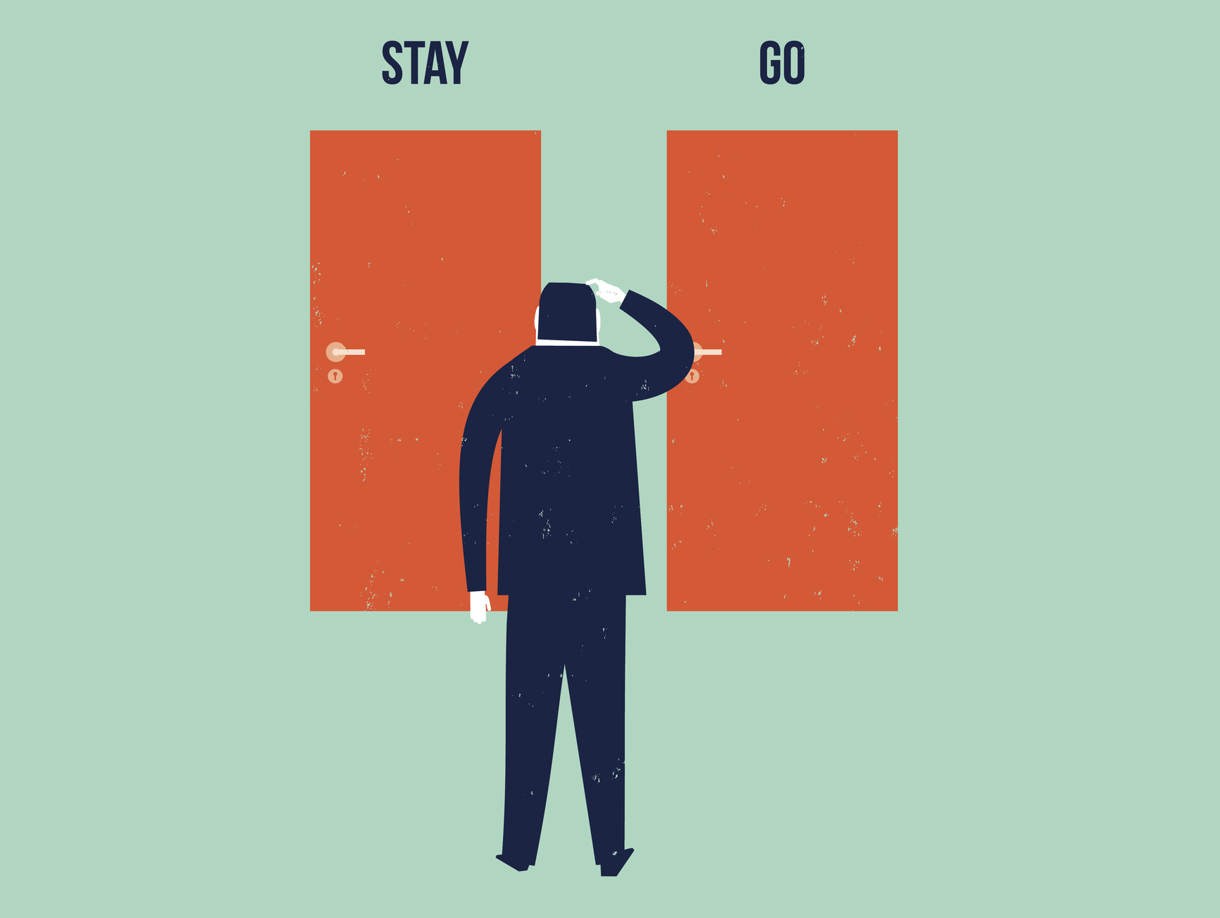 Picture showing man facing two doors, one saying stay, the other go, to illustrate article on whether you should quit law and consider a career change