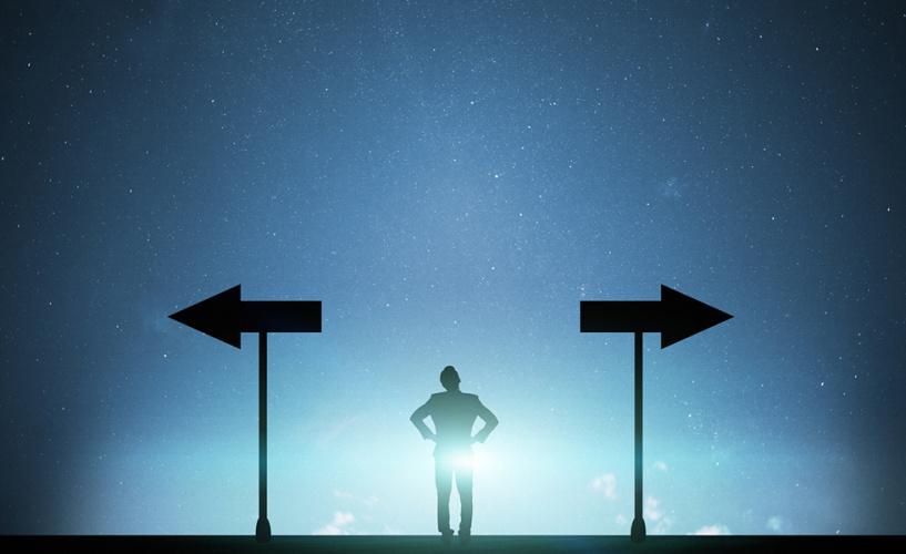Businessman business concept directional sign.