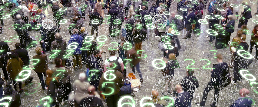 Binary code bursts from phones held by people with a matrix style overlay of glowing electronic numbers.